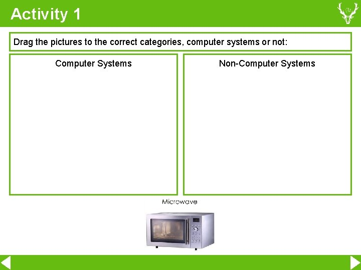 Activity 1 Drag the pictures to the correct categories, computer systems or not: Computer