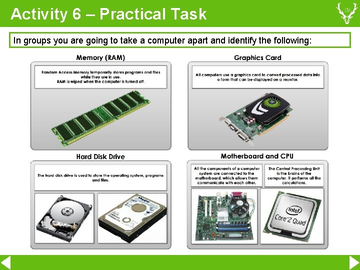 Activity 6 – Practical Task In groups you are going to take a computer