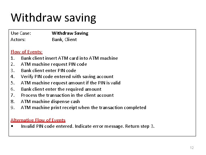 Withdraw saving Use Case: Actors: Withdraw Saving Bank, Client Flow of Events: 1. Bank