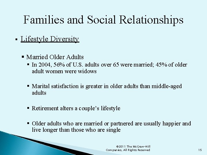 Families and Social Relationships § Lifestyle Diversity § Married Older Adults § In 2004,