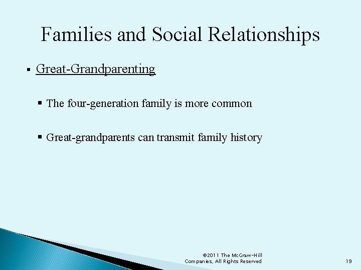 Families and Social Relationships § Great-Grandparenting § The four-generation family is more common §