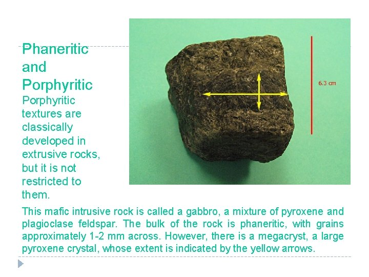 Phaneritic and Porphyritic textures are classically developed in extrusive rocks, but it is not
