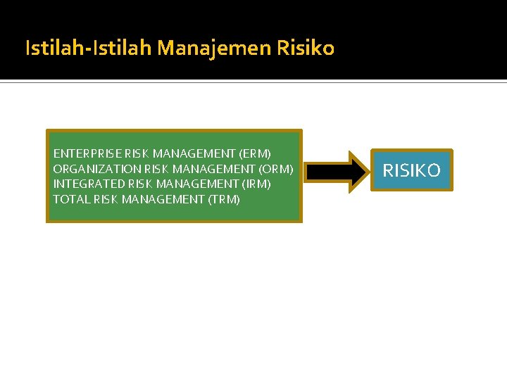 Istilah-Istilah Manajemen Risiko ENTERPRISE RISK MANAGEMENT (ERM) ORGANIZATION RISK MANAGEMENT (ORM) INTEGRATED RISK MANAGEMENT