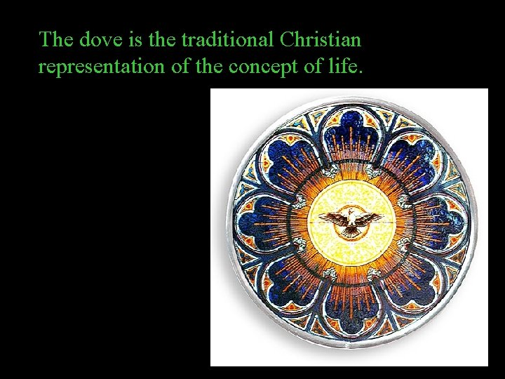 The dove is the traditional Christian representation of the concept of life.
