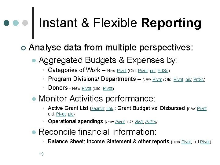 Instant & Flexible Reporting ¢ Analyse data from multiple perspectives: l Aggregated Budgets &