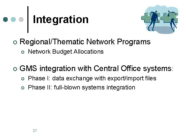 Integration ¢ Regional/Thematic Network Programs ¢ ¢ Network Budget Allocations GMS integration with Central