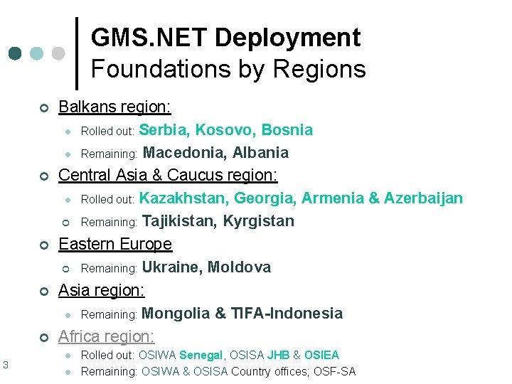 GMS. NET Deployment Foundations by Regions ¢ ¢ ¢ 3 Balkans region: l Rolled
