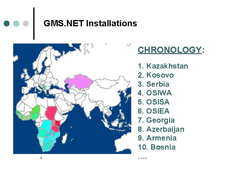 GMS. NET Installations CHRONOLOGY: 4 1. Kazakhstan 2. Kosovo 3. Serbia 4. OSIWA 5.