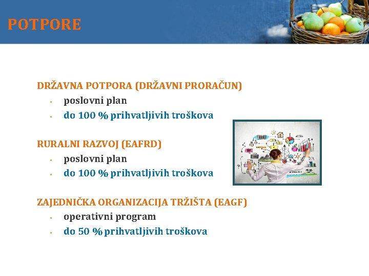 POTPORE DRŽAVNA POTPORA (DRŽAVNI PRORAČUN) poslovni plan do 100 % prihvatljivih troškova RURALNI RAZVOJ