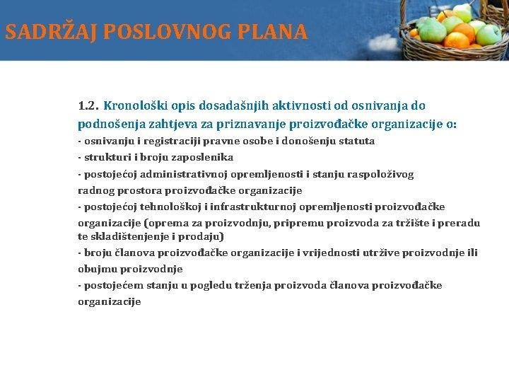 SADRŽAJ POSLOVNOG PLANA 1. 2. Kronološki opis dosadašnjih aktivnosti od osnivanja do podnošenja zahtjeva
