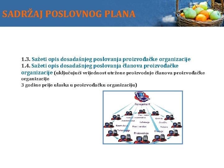 SADRŽAJ POSLOVNOG PLANA 1. 3. Sažeti opis dosadašnjeg poslovanja proizvođačke organizacije 1. 4. Sažeti