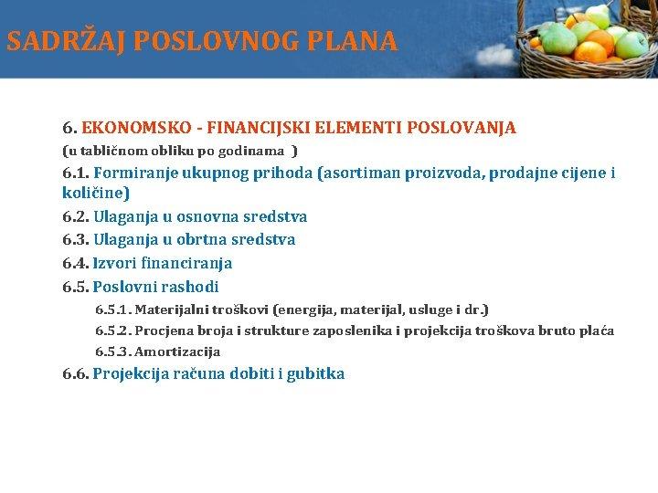 SADRŽAJ POSLOVNOG PLANA 6. EKONOMSKO - FINANCIJSKI ELEMENTI POSLOVANJA (u tabličnom obliku po godinama