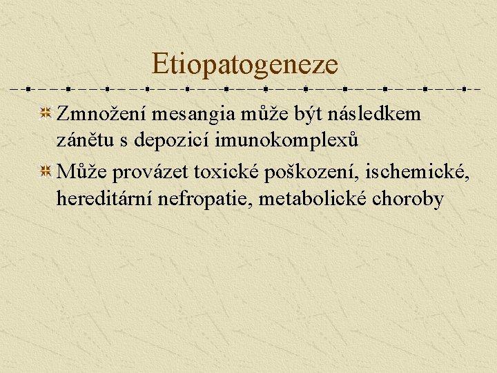 Etiopatogeneze Zmnožení mesangia může být následkem zánětu s depozicí imunokomplexů Může provázet toxické poškození,