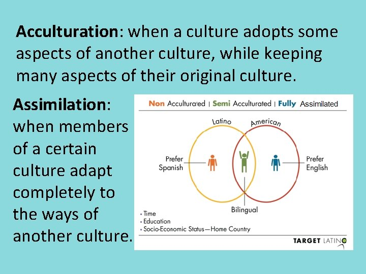 Acculturation: when a culture adopts some aspects of another culture, while keeping many aspects