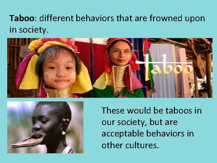 Taboo: different behaviors that are frowned upon in society. These would be taboos in