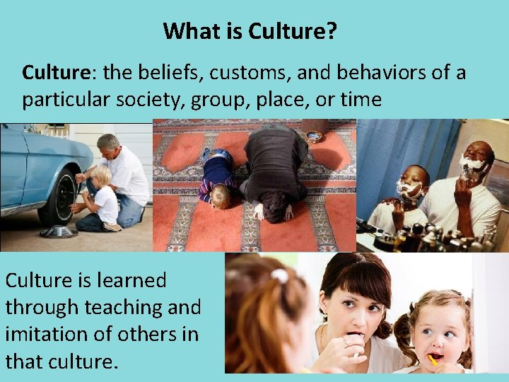 What is Culture? Culture: the beliefs, customs, and behaviors of a particular society, group,