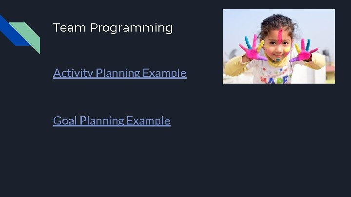 Team Programming Activity Planning Example Goal Planning Example