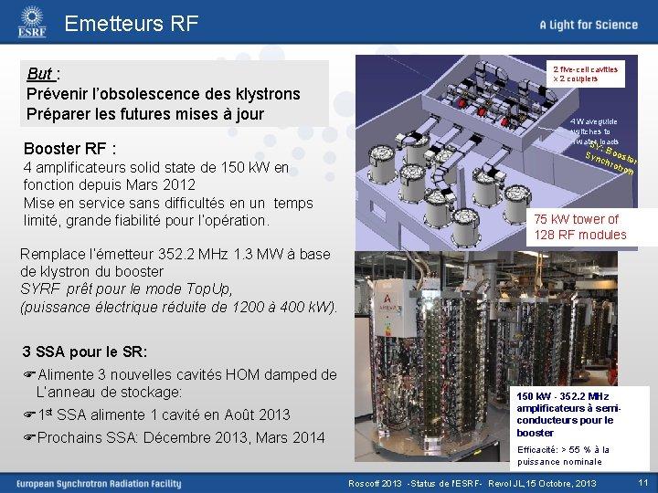 Emetteurs RF But : Prévenir l'obsolescence des klystrons Préparer les futures mises à jour