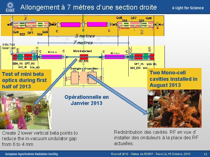 Allongement à 7 mètres d'une section droite Two Mono-cell cavities installed in August 2013