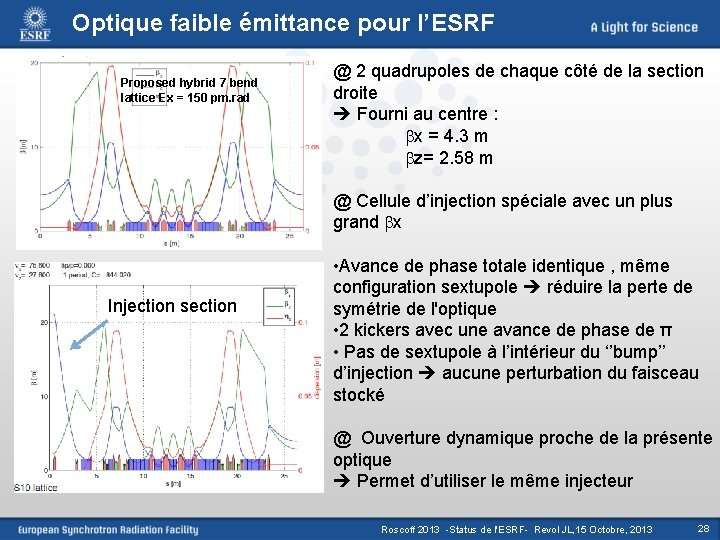 Optique faible émittance pour l'ESRF Proposed hybrid 7 bend lattice Ex = 150 pm.