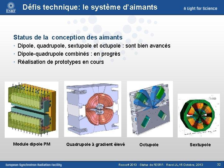 Défis technique: le système d'aimants Status de la conception des aimants • Dipole, quadrupole,