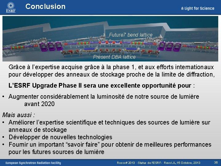 Conclusion Future 7 bend lattice Present DBA lattice Grâce à l'expertise acquise grâce à