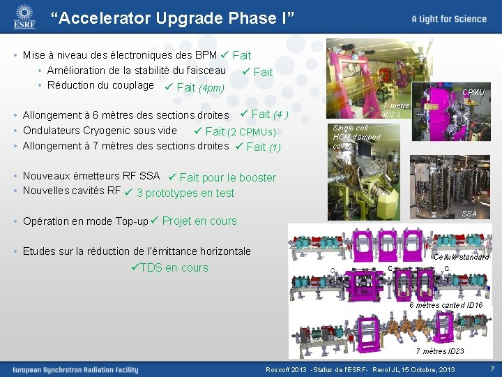 """""""Accelerator Upgrade Phase I"""" • Mise à niveau des électroniques des BPM ü Fait"""