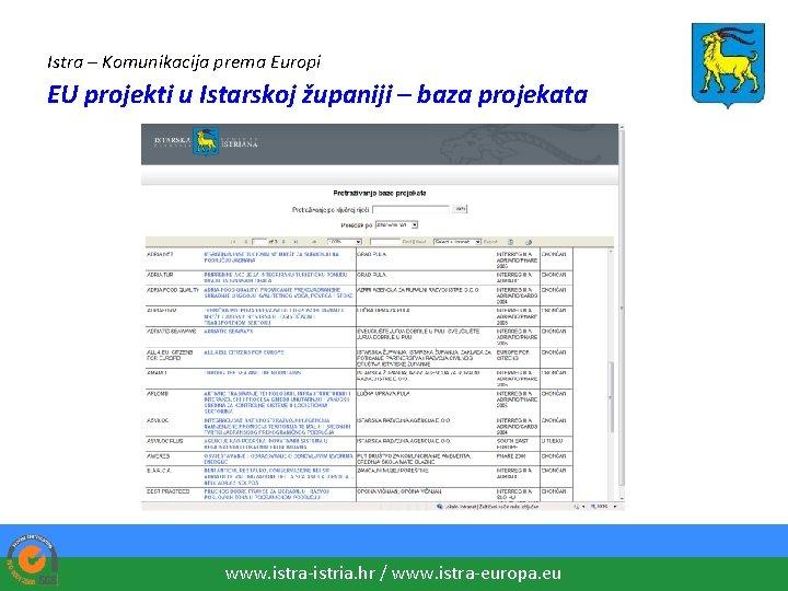Istra – Komunikacija prema Europi EU projekti u Istarskoj županiji – baza projekata www.