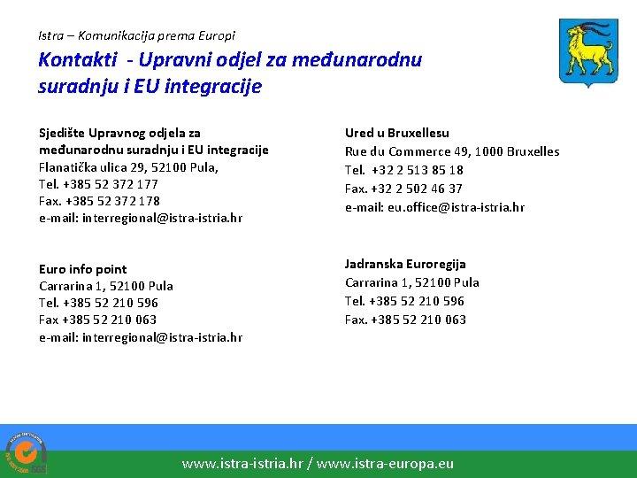 Istra – Komunikacija prema Europi Kontakti - Upravni odjel za međunarodnu suradnju i EU