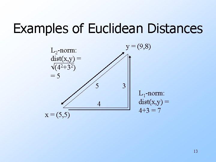 Examples of Euclidean Distances y = (9, 8) L 2 -norm: dist(x, y) =