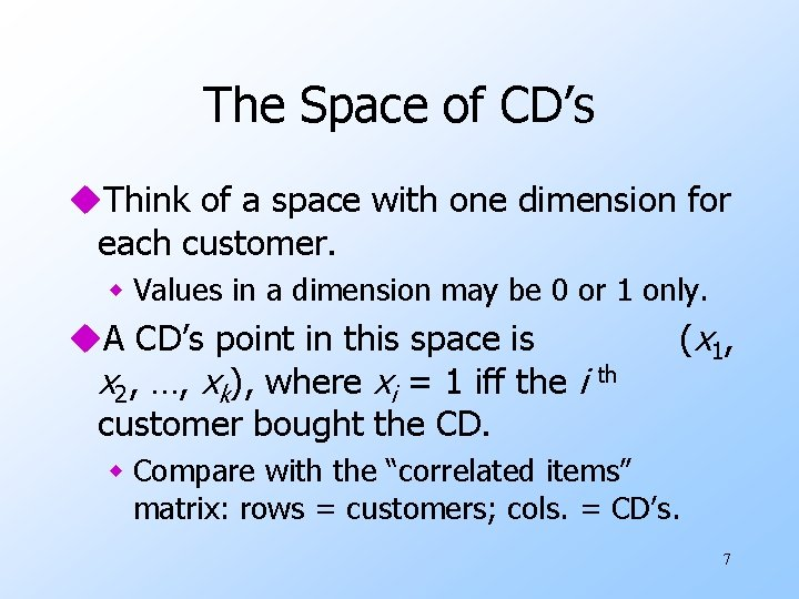 The Space of CD's u. Think of a space with one dimension for each