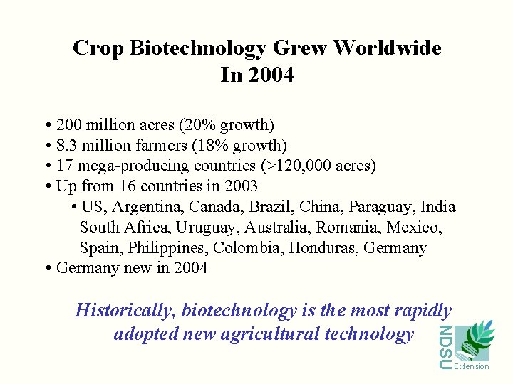Crop Biotechnology Grew Worldwide In 2004 • 200 million acres (20% growth) • 8.