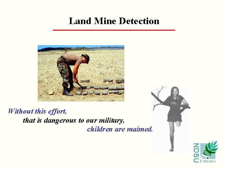 Land Mine Detection Without this effort, that is dangerous to our military, children are