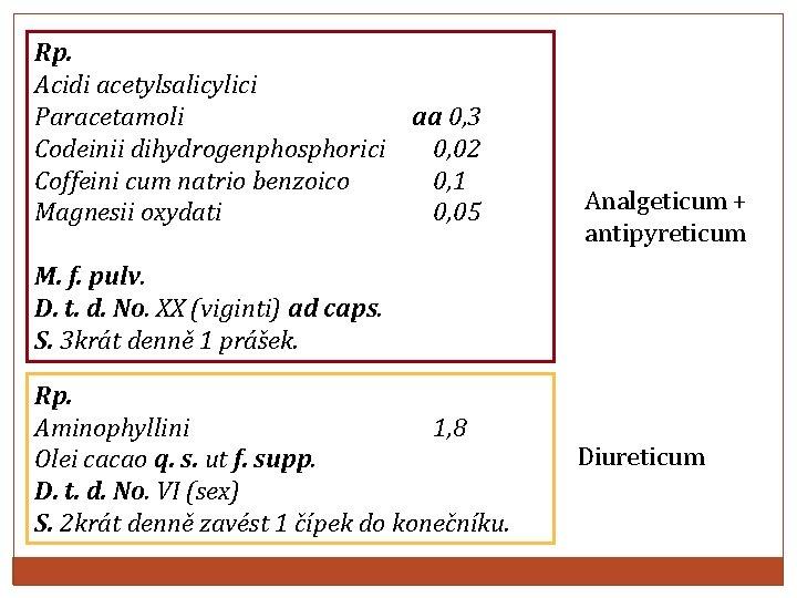 Rp. Acidi acetylsalicylici Paracetamoli aa 0, 3 Codeinii dihydrogenphosphorici 0, 02 Coffeini cum natrio