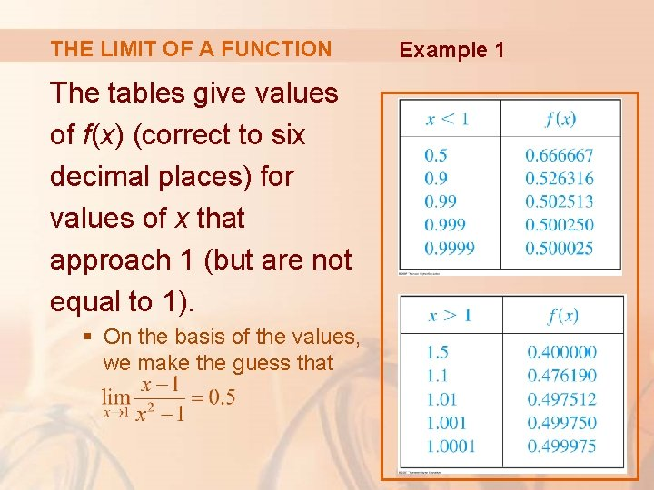 THE LIMIT OF A FUNCTION The tables give values of f(x) (correct to six