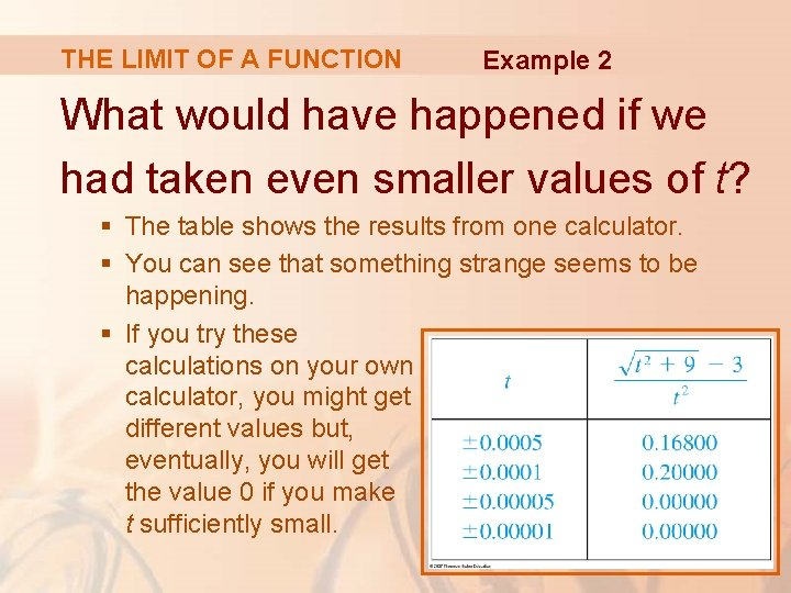 THE LIMIT OF A FUNCTION Example 2 What would have happened if we had