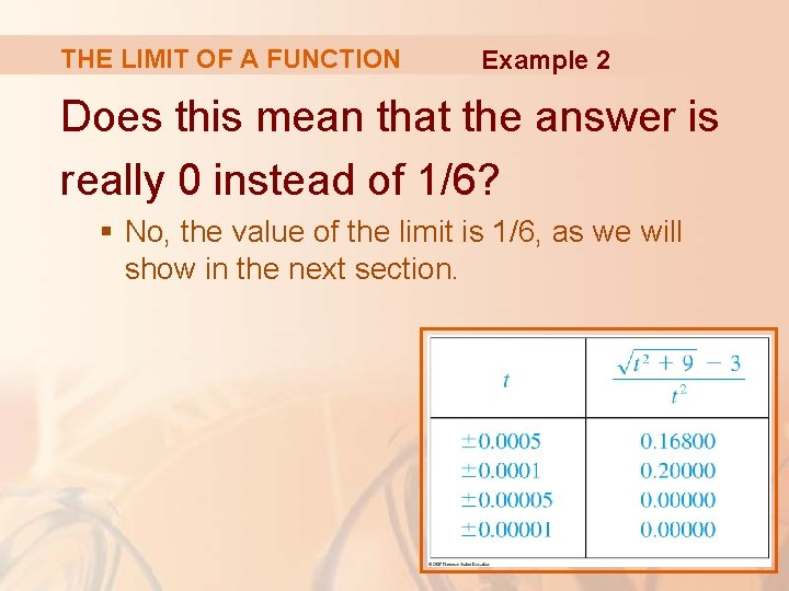 THE LIMIT OF A FUNCTION Example 2 Does this mean that the answer is