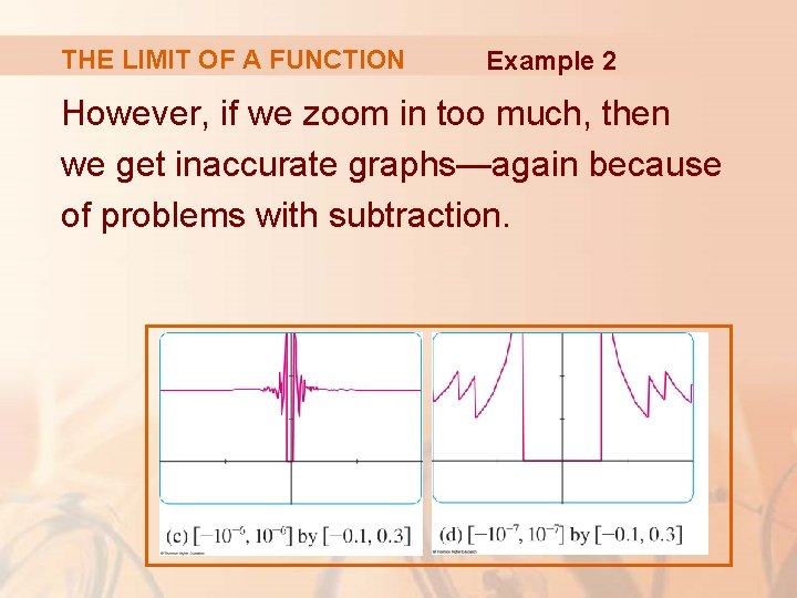 THE LIMIT OF A FUNCTION Example 2 However, if we zoom in too much,