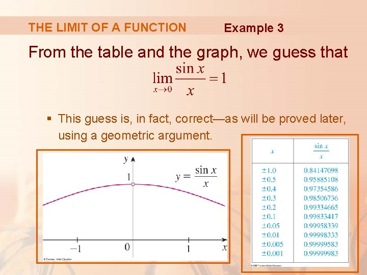 THE LIMIT OF A FUNCTION Example 3 From the table and the graph, we