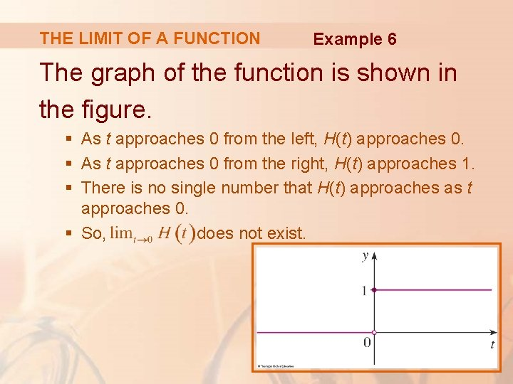 THE LIMIT OF A FUNCTION Example 6 The graph of the function is shown