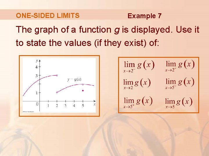 ONE-SIDED LIMITS Example 7 The graph of a function g is displayed. Use it