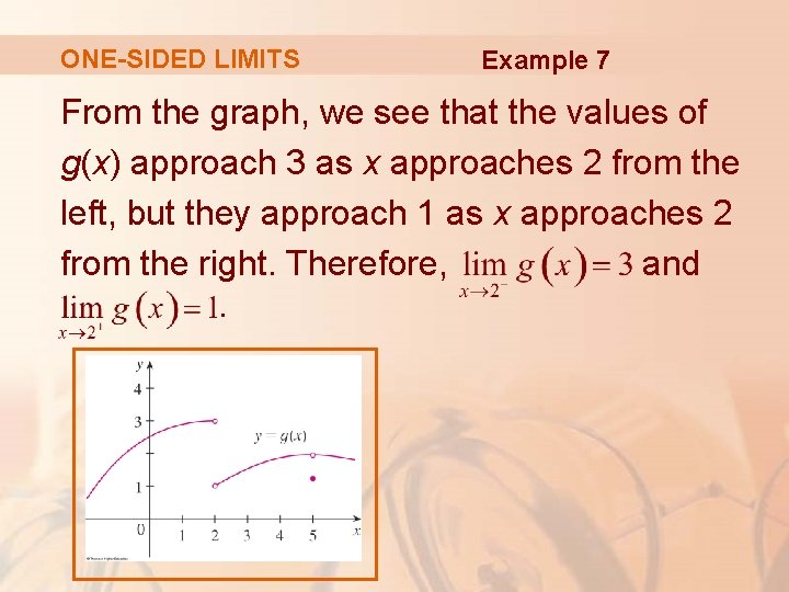 ONE-SIDED LIMITS Example 7 From the graph, we see that the values of g(x)