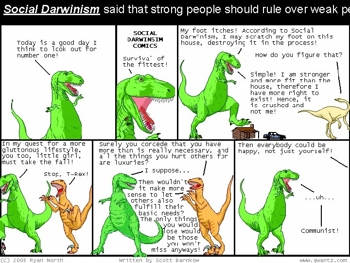 Social Darwinism said that strong people should rule over weak pe