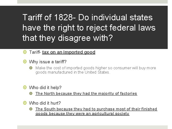 Tariff of 1828 - Do individual states have the right to reject federal laws