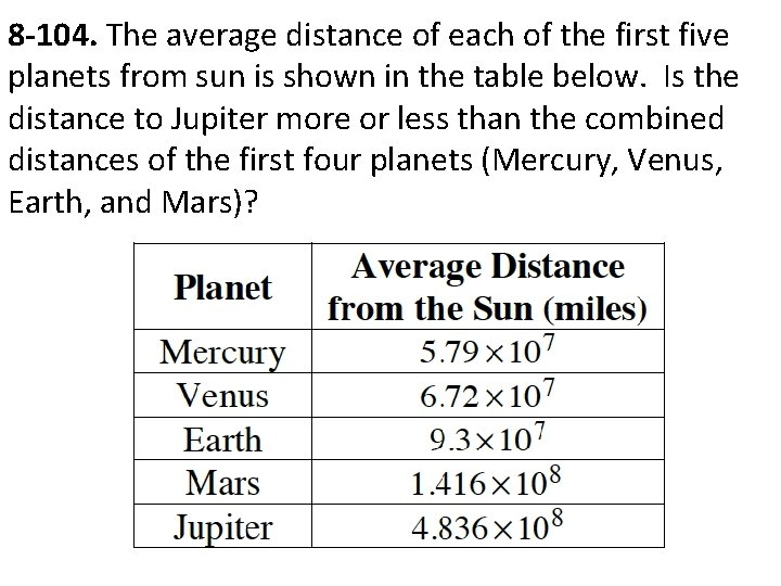 8 -104. The average distance of each of the first five planets from sun