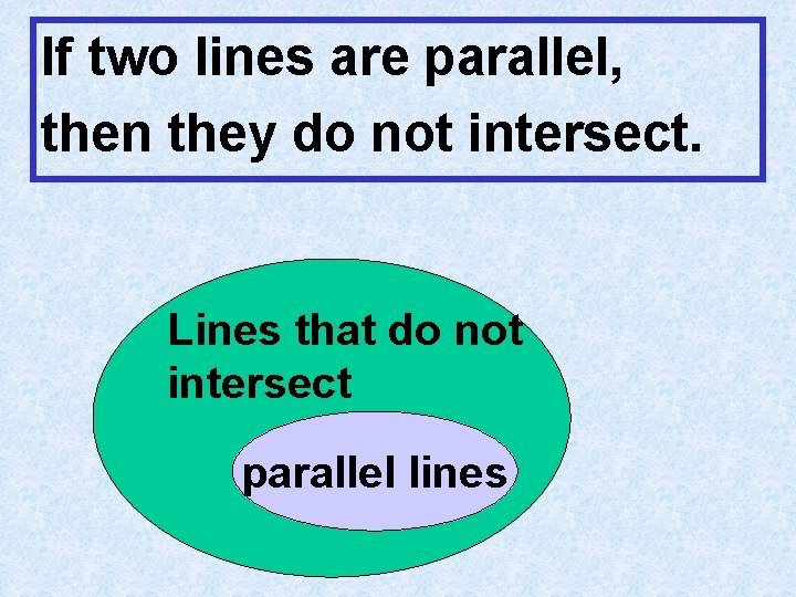 If two lines are parallel, then they do not intersect. Lines that do not