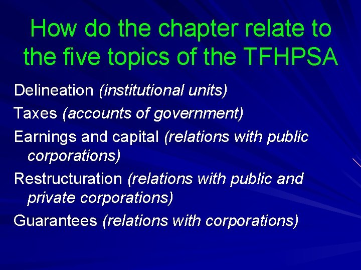 How do the chapter relate to the five topics of the TFHPSA Delineation (institutional