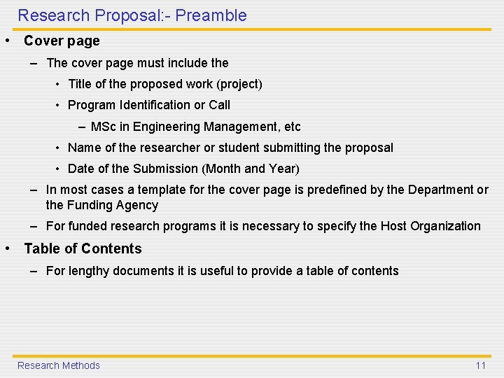 Research Proposal: - Preamble • Cover page – The cover page must include the
