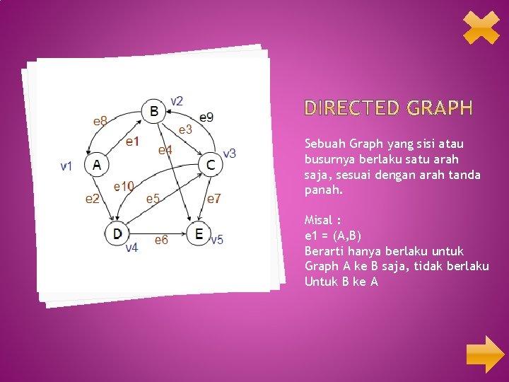 Sebuah Graph yang sisi atau busurnya berlaku satu arah saja, sesuai dengan arah tanda