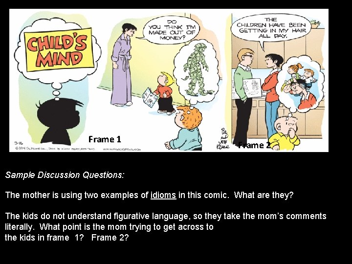 Frame 1 Frame 2 Sample Discussion Questions: The mother is using two examples of